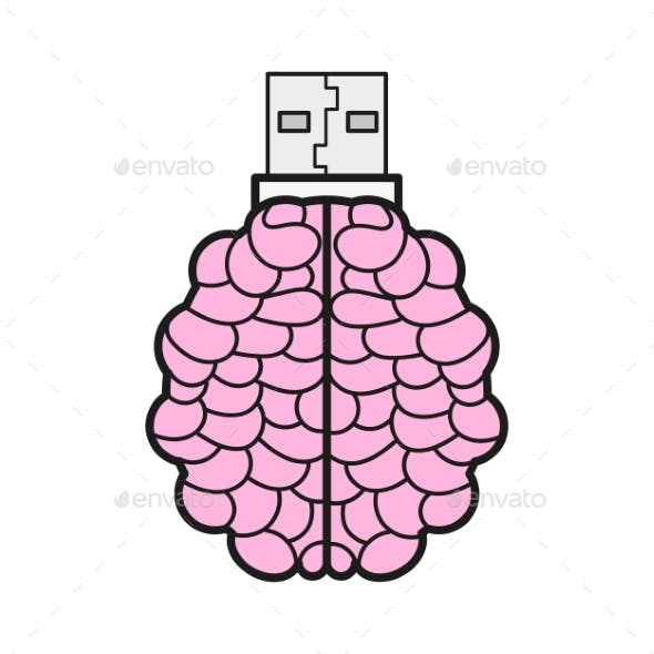 Brain Shaped Flash Drive Flat Icon Memory Stick