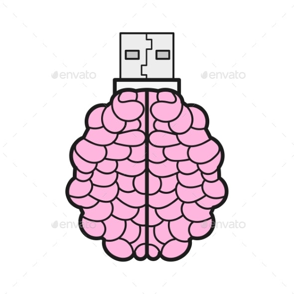 Brain Shaped Flash Drive Flat Icon Memory Stick - Man-made Objects Objects
