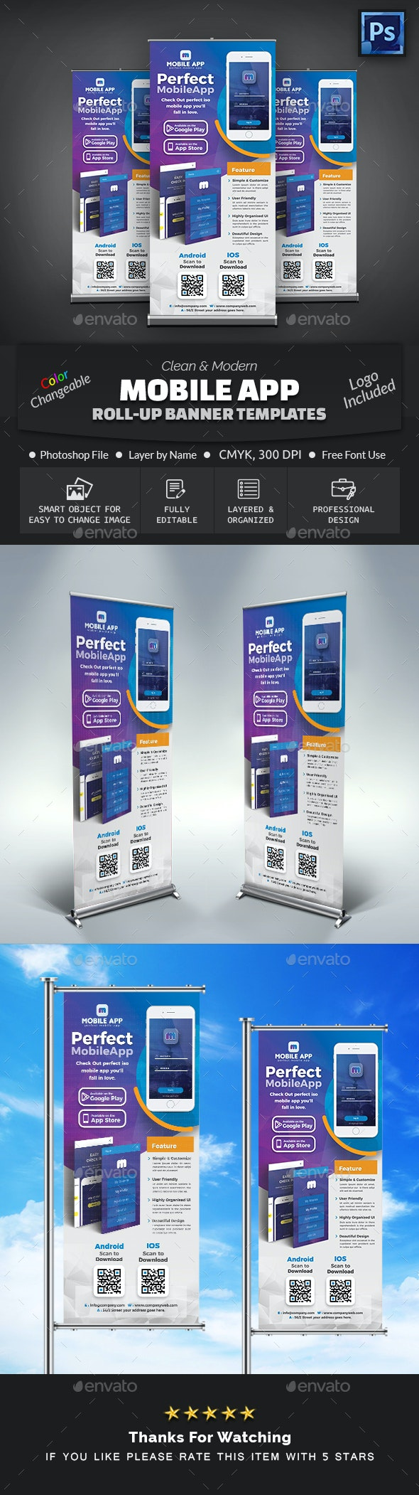 Mobile App Roll Up Banner - Signage Print Templates