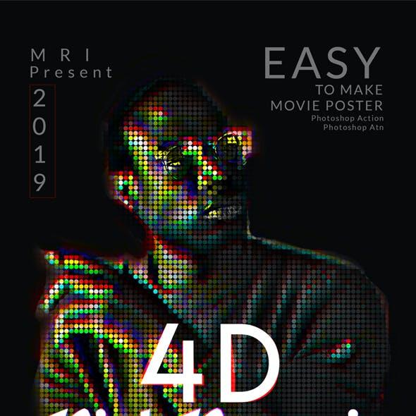 4D Pixel Portrait Photoshop Action