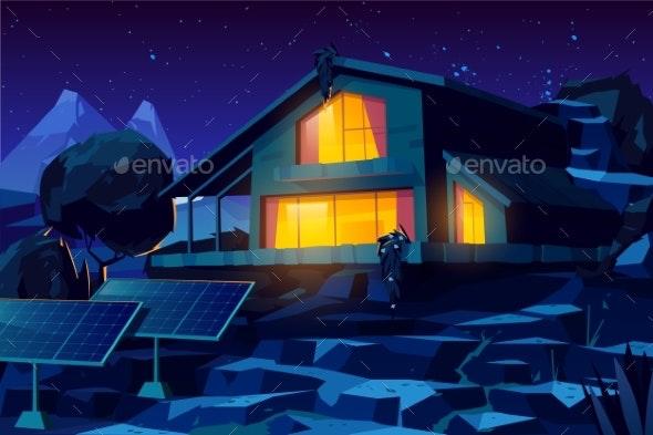 Autonomous House with Solar Panels Cartoon Vector - Buildings Objects