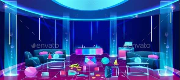 Mess in Nightclub After Party Vector Concept - Buildings Objects