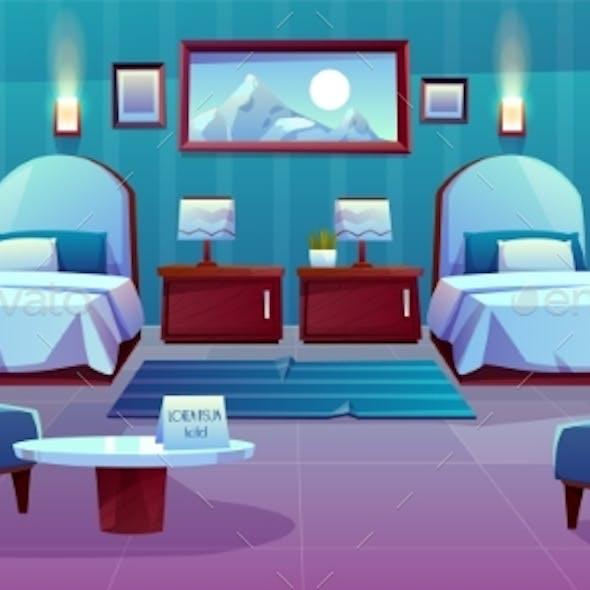 Hotel Double Room Cartoon Vector Interior