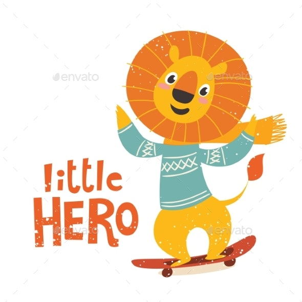 Little Hero Illustration with a Lion - Animals Characters