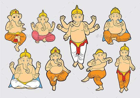 Ganesh Poses Vector - Religion Conceptual