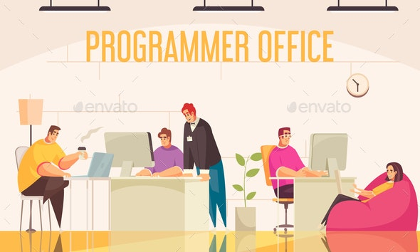 Programmer Office Background - Miscellaneous Vectors