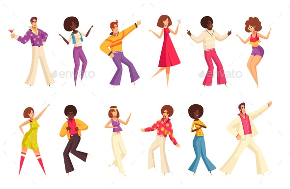 Retro Disco Party Set - People Characters