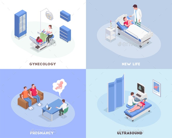 Pregnancy Isometric 2x2 Design Concept - Computers Technology