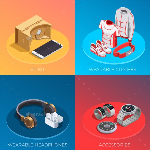 Wearable Technology Isometric Concept - Computers Technology