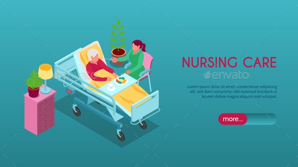Nursing Home Isometric Banner - Industries Business