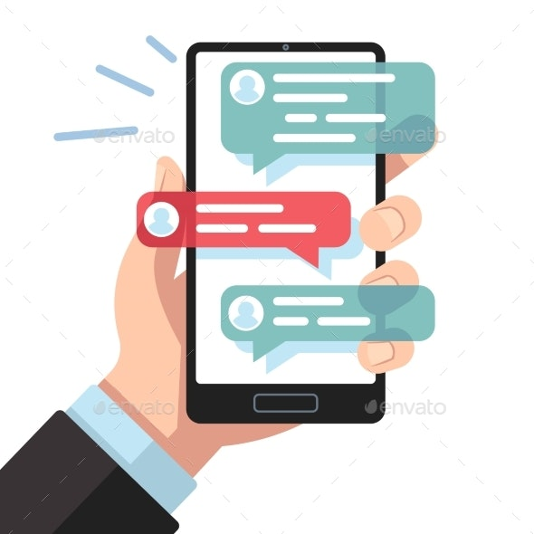 Mobile Sms Notifications. Hand with Smartphone - Computers Technology