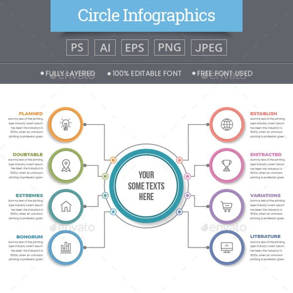 Circle Infographics with 08 Steps
