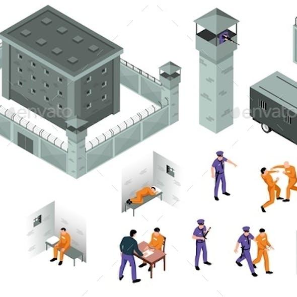 Jail Isometric Icons Set