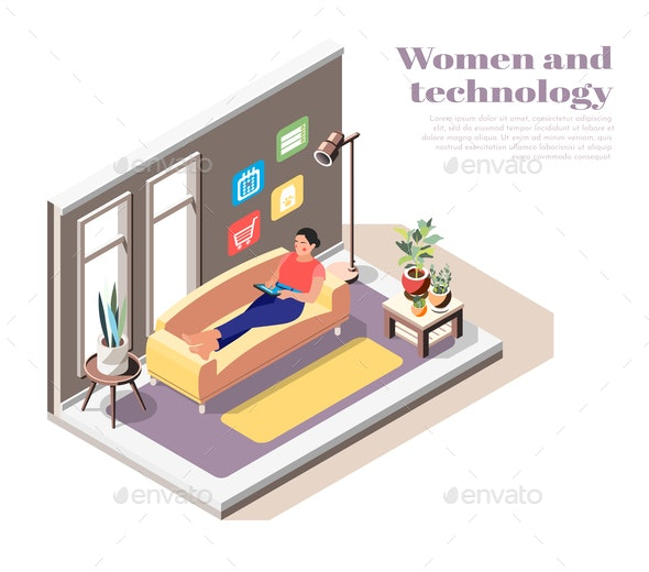 Women and Technology Isometric Composition - Miscellaneous Vectors