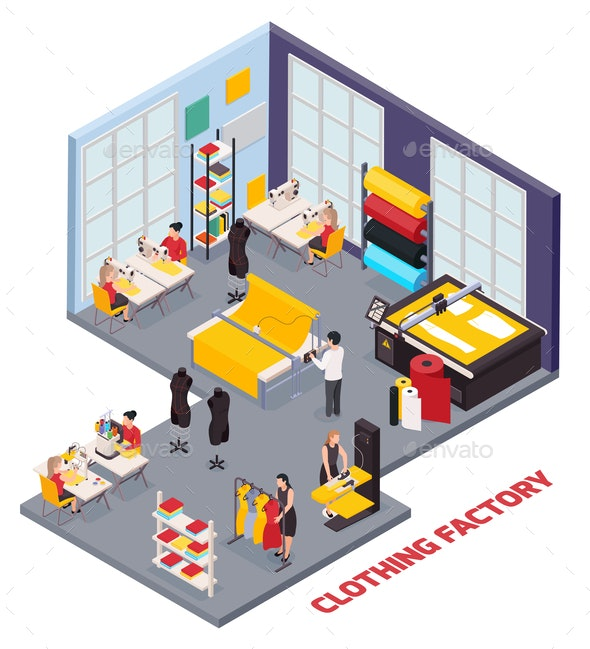 Clothing Factory Isometric Composition - Miscellaneous Vectors