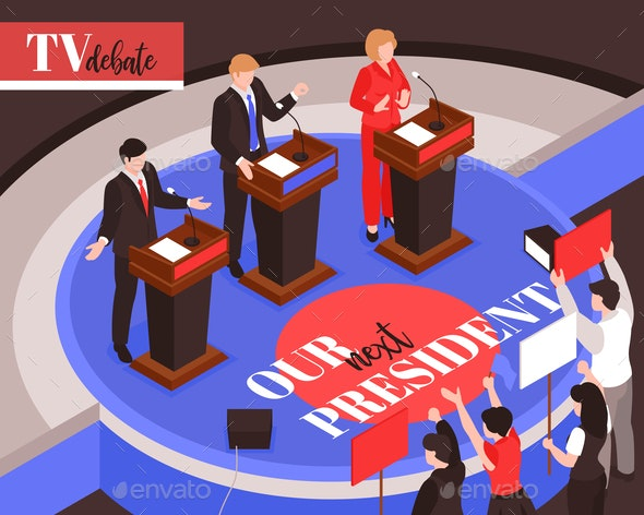Isometric Presidential Debates Composition - People Characters