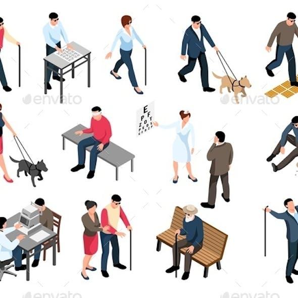 Blind People Isometric Set