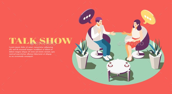 Talk Show Isometric Background - Miscellaneous Vectors