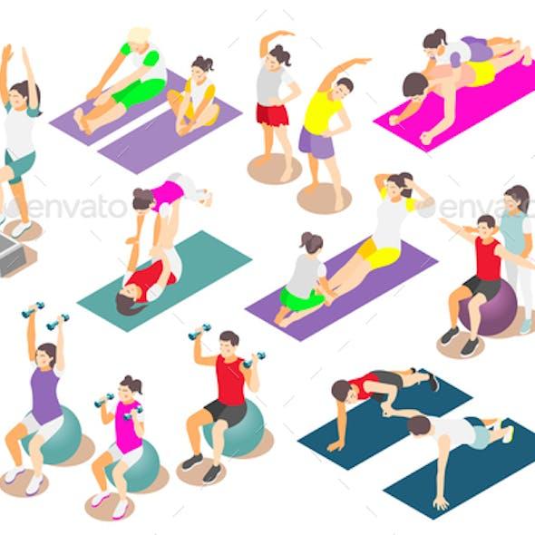 Family Fitness Isometric Icons Set