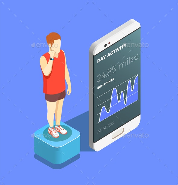 Wearable Technology Isometric Composition - Technology Conceptual
