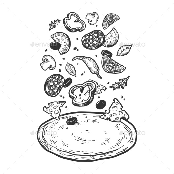 Pizza with Flying Ingredients Sketch Vector - Food Objects