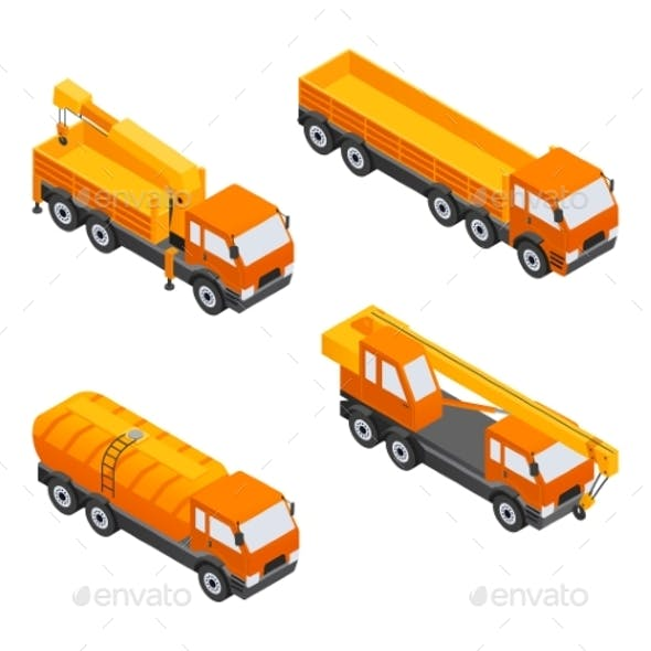 Construction Vehicles - Modern Vector Isometric