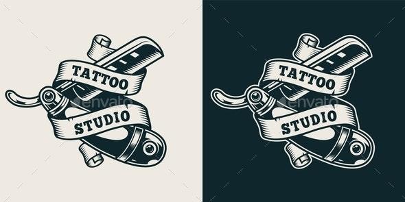 Vintage Tattoo Studio Print - Miscellaneous Vectors