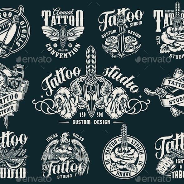Vintage Tattoo Studio Labels
