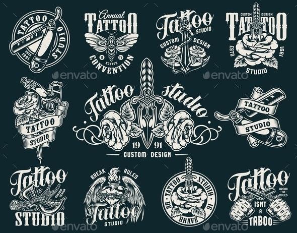 Vintage Tattoo Studio Labels - Miscellaneous Vectors