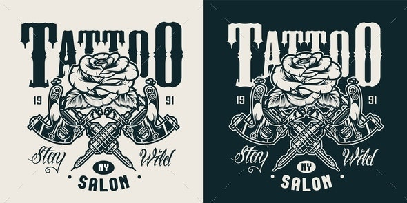 Vintage Tattoo Salon Monochrome Logo - Miscellaneous Vectors