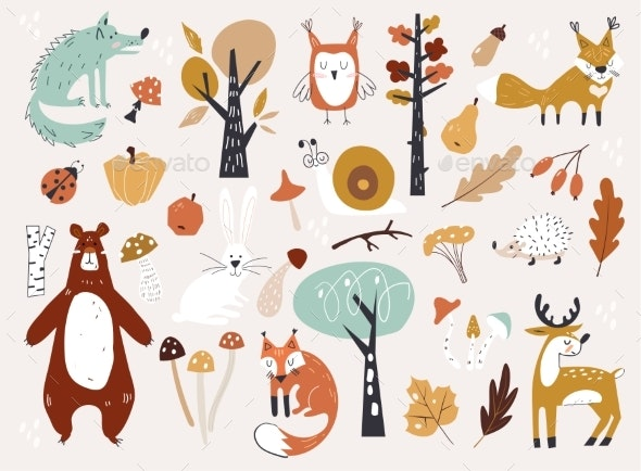 Autumn Woodland Animals and Floral Forest - Animals Characters