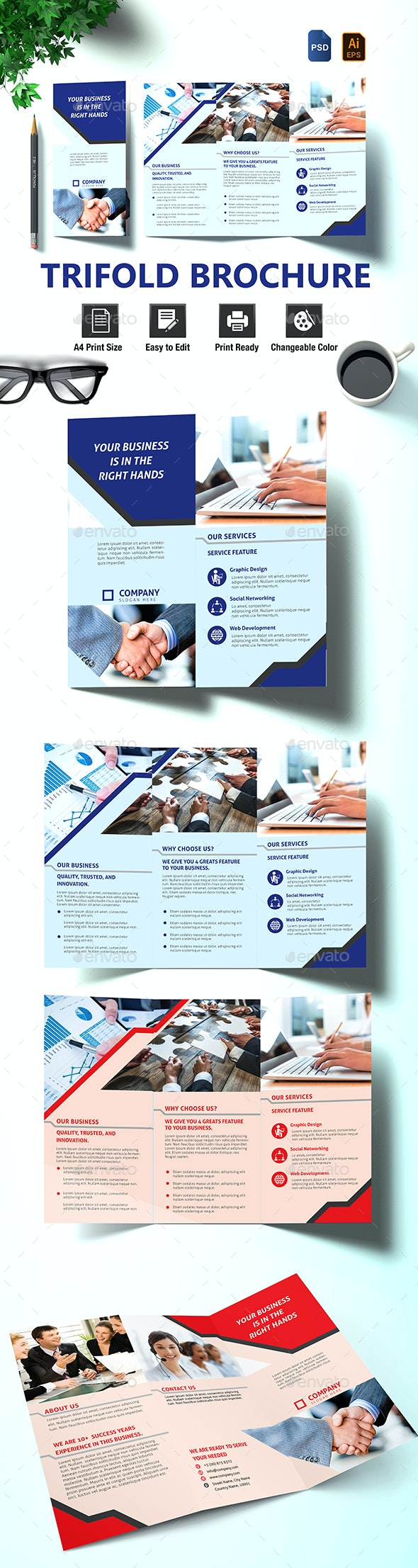 Trifold Brochure - Stationery Print Templates