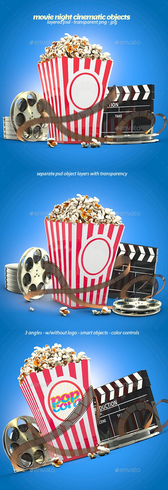 Movie Night Cinematic 3D Objects - Objects 3D Renders