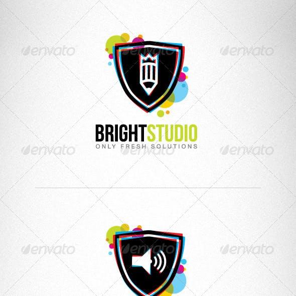 Bright Circles Shield Creative Logo Set