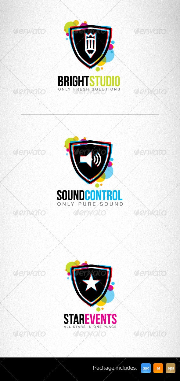 Bright Circles Shield Creative Logo Set - Objects Logo Templates