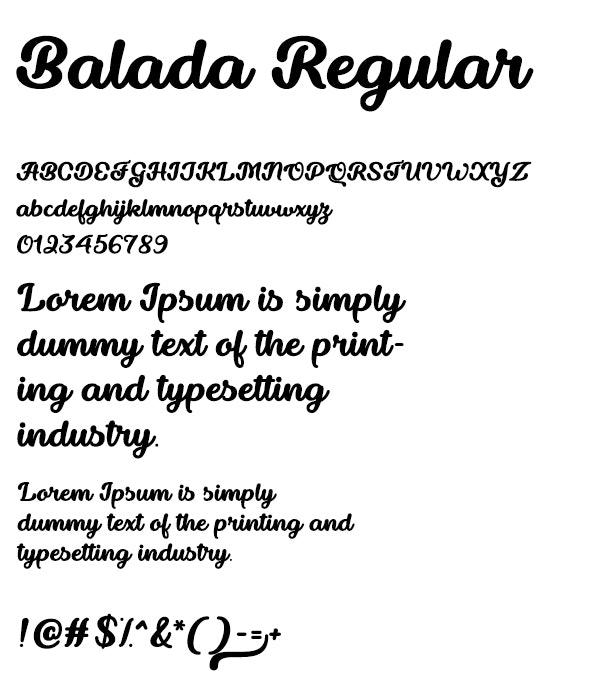 Balada Regular - Hand-writing Script