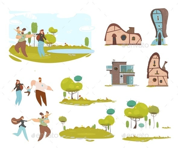 Craft Family Country House Farmland Cartoon Set - People Characters