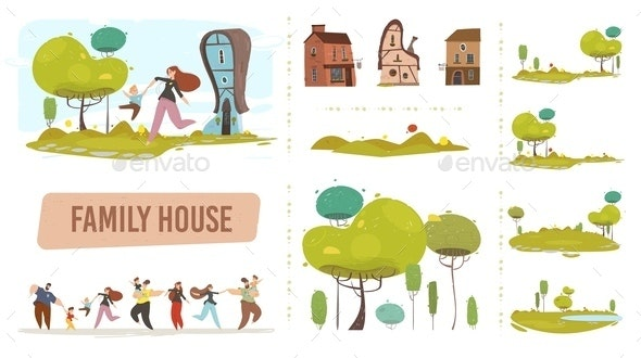 Farm Family House Set in Craft Trendy Flat Style - People Characters