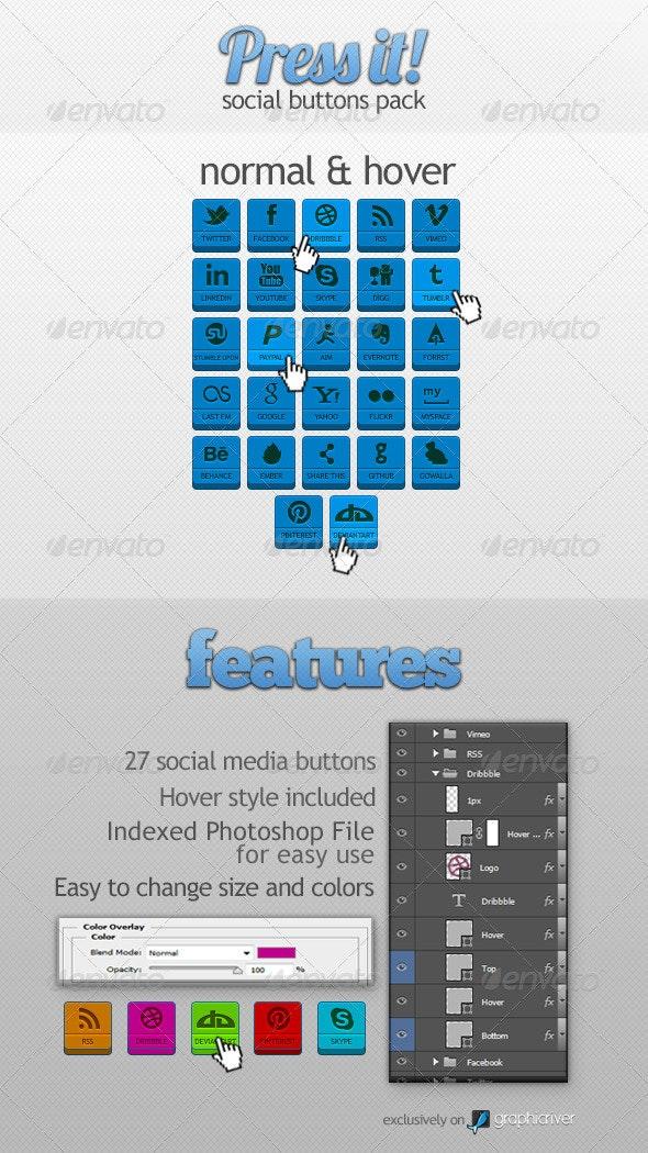 Modern Social Buttons Pack - Buttons Web Elements