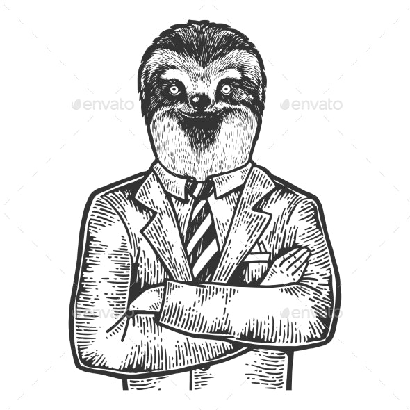 Sloth Businessman Sketch Engraving Vector - Miscellaneous Characters