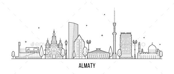 Almaty Skyline Kazakhstan Linear Art City Vector - Buildings Objects