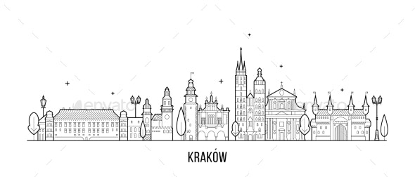 Krakow Skyline Poland Illustration City a Vector - Buildings Objects