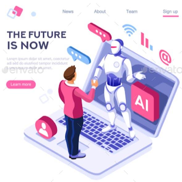 Robot Infographic Tech Concept