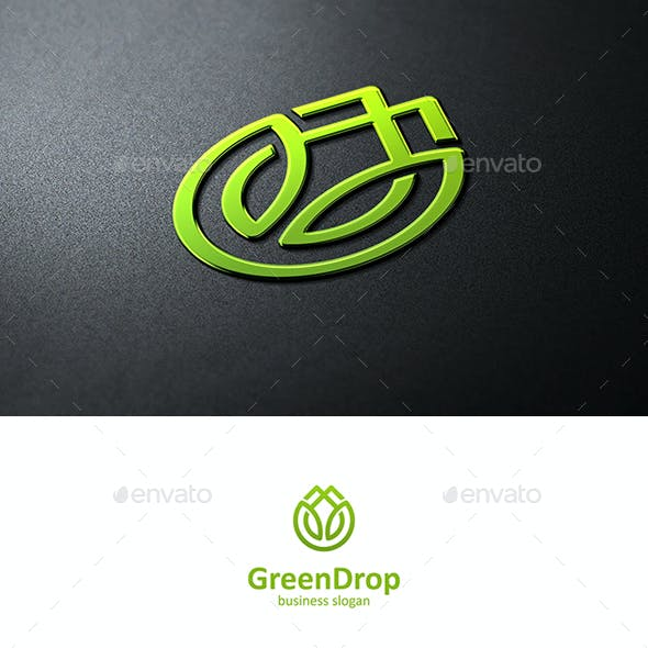 Green Drop Logo with Leaves and Drop Symbol