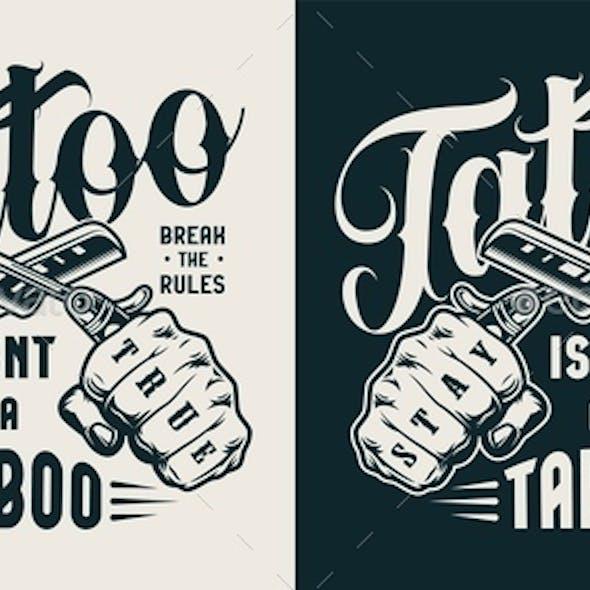 Vintage Tattoo Studio Label