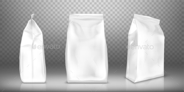 White Blank Plastic or Foil Pack Realistic Vector - Food Objects
