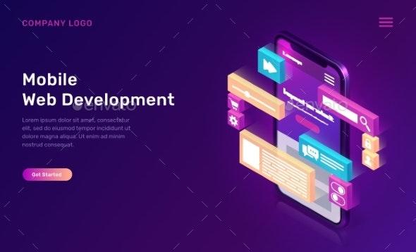 Mobile Web Development Isometric Concept - Web Technology
