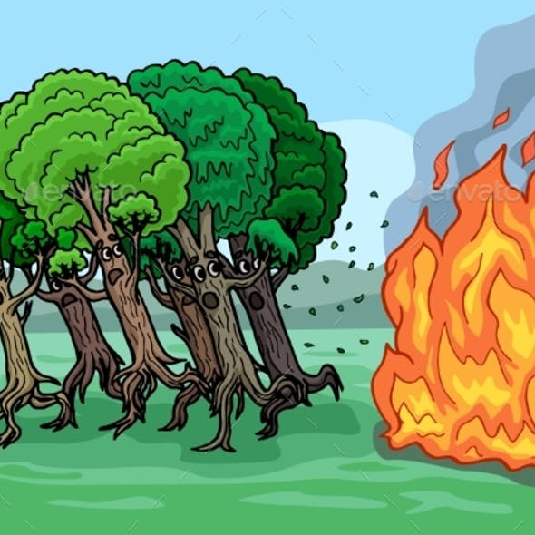 Cartoon Trees Are Very Afraid of Fire