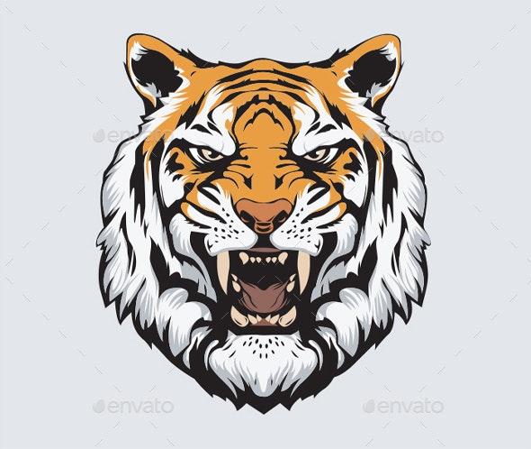 Tiger Head Vector - Animals Characters