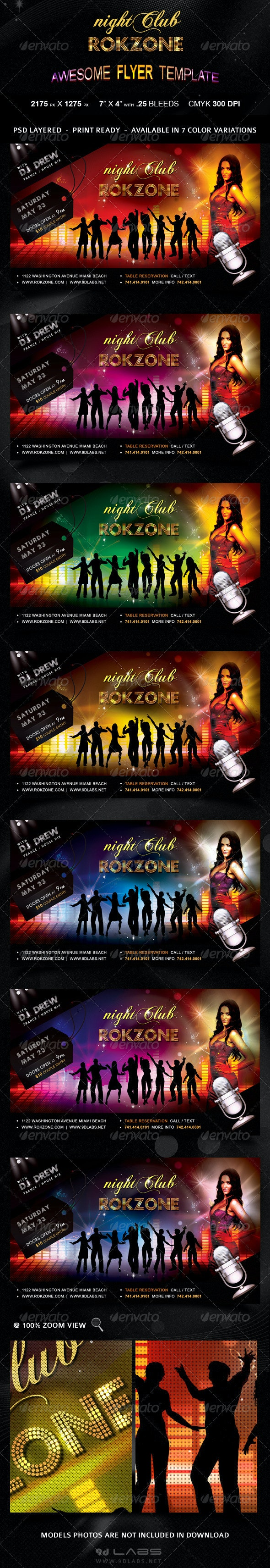 Roczone Flyer - 7 Color Variations - Print Ready - Flyers Print Templates